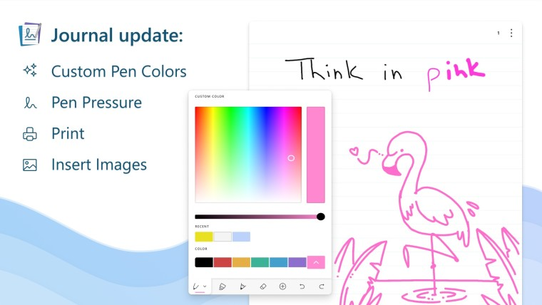 New ink color options in the Journal app along with a list of other updates
