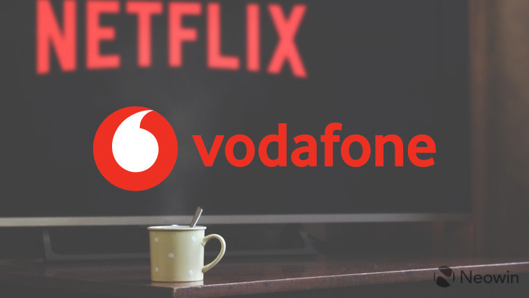 The Vodafone logo with a TV playing Netflix in the background