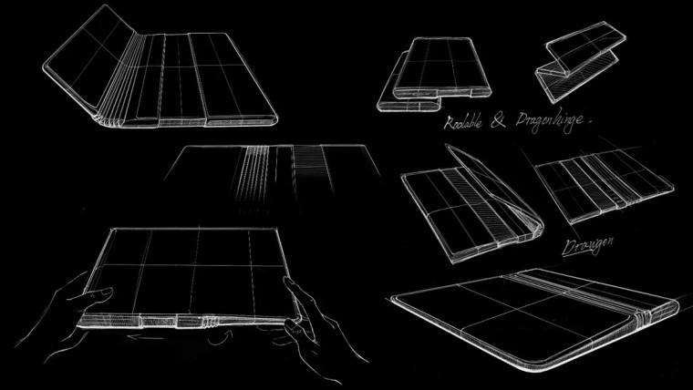 Concept image of a TCL phone with both folding and rolling displays