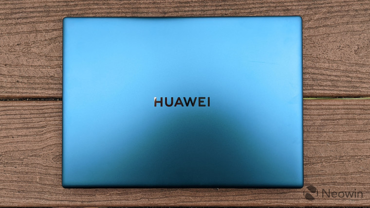Top-down view of the Emerald Green Huawei MateBook X Pro
