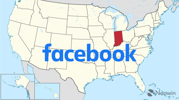 The Facebook logo on top of a US map highlighting Indiana