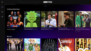 HBO Max home page with some featured titles like Justice League Rick and Morty Doctor Who and more