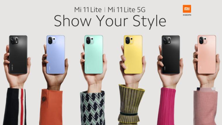 The Xiaomi Mi 11 Lite in its different colours