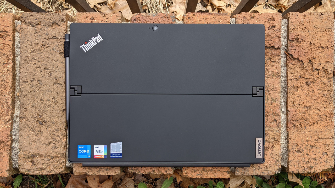 Top-down view of ThinkPad X12 Detachable on bricks
