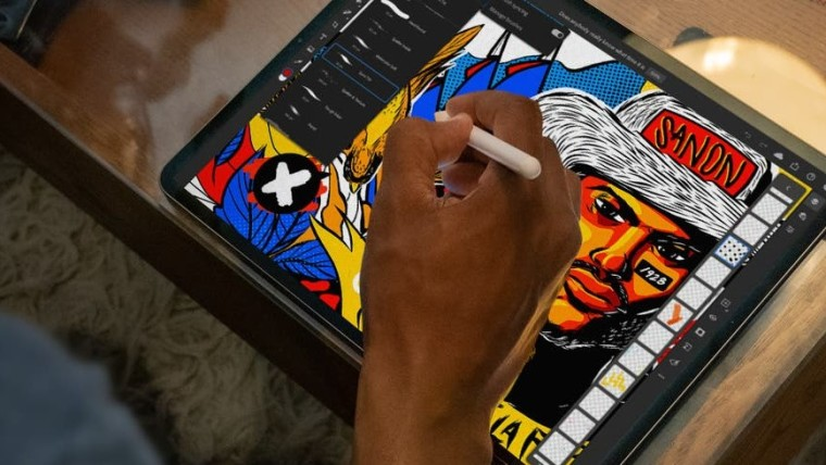 Adobe Illustrator running on an iPad with Apple Pencil support