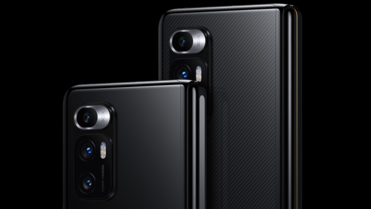 Back panel of the Xiaomi Mi Mix Fold in black showing off its triple camera setup