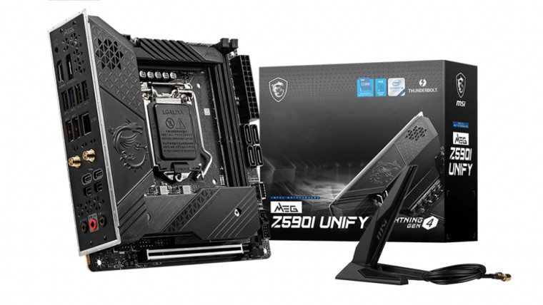 MSI MEG Z590I UNIFY motherboard and its packaging box