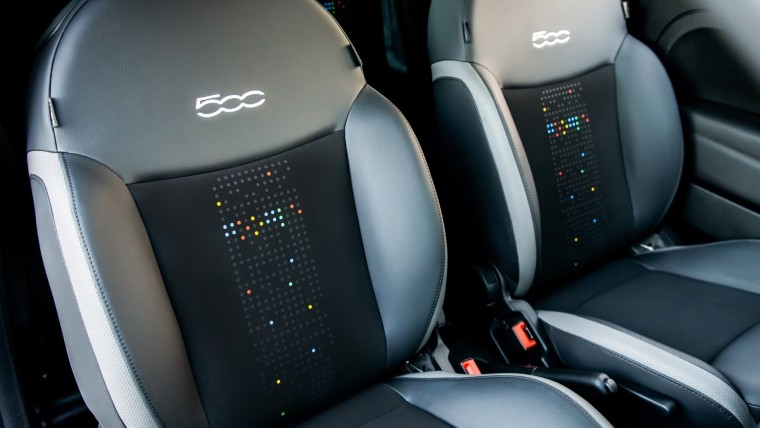 Front seats of the Fiat 500 with Google-themed patterns