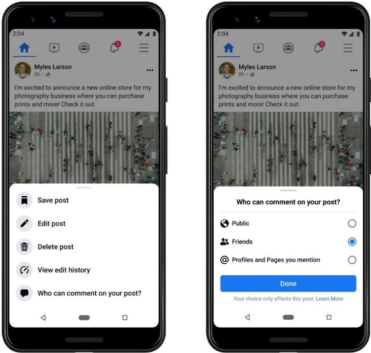 Changing who can comment on a Facebook post