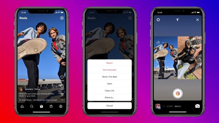 Three screenshots of Instagram&039s new feature in Reels called Remix that looks like TikTok&039s du