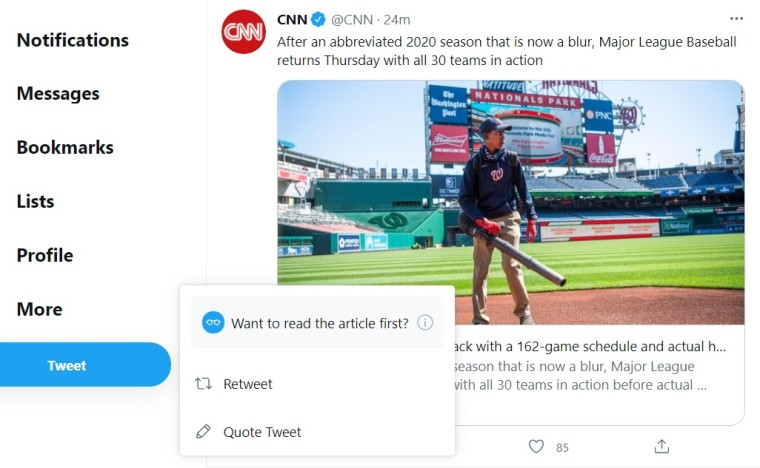 Prompt asking users to read an article before retweeting it