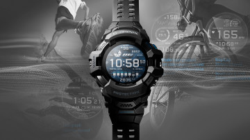 G-SHOCK PRO GSW-H1000 with sports imagery in the background