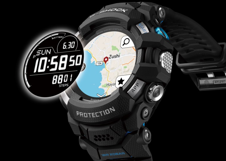 The dual-layer display on the GSW-H1000 smartwatch