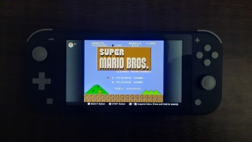 A Nintendo Switch running Super Mario Bros