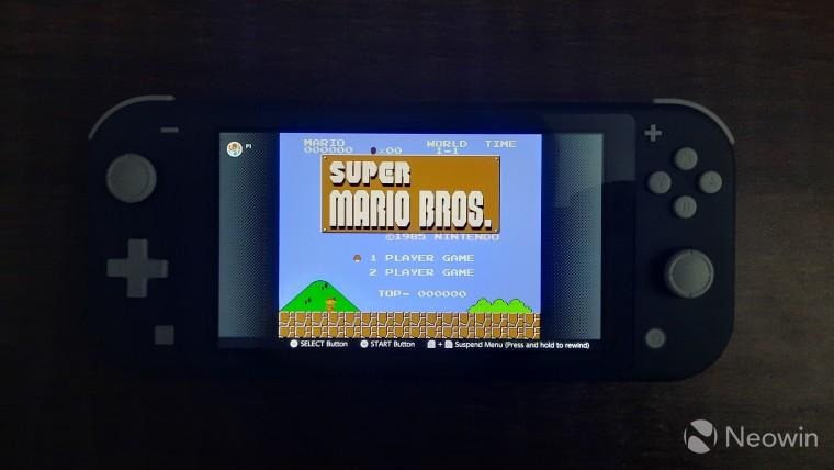 A Nintendo Switch running Super Mario Bros