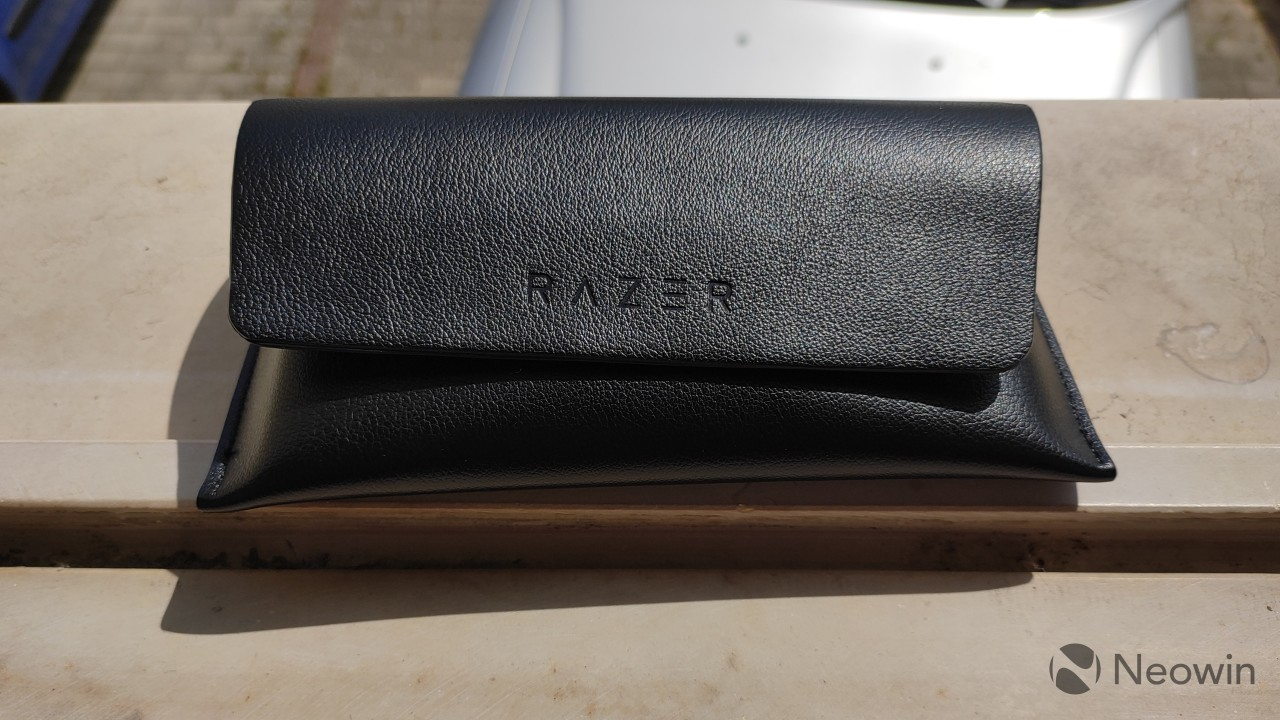 Razer Anzu Smart Glasses in the carrying case
