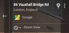 The button to view Street View history