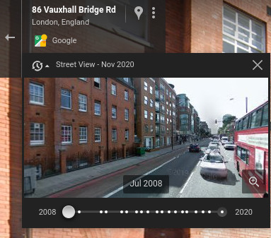 The Street View timeline previewer
