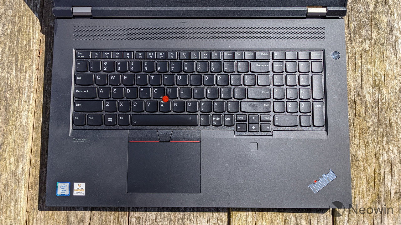 Top down view of ThinkPad P17 keyboard