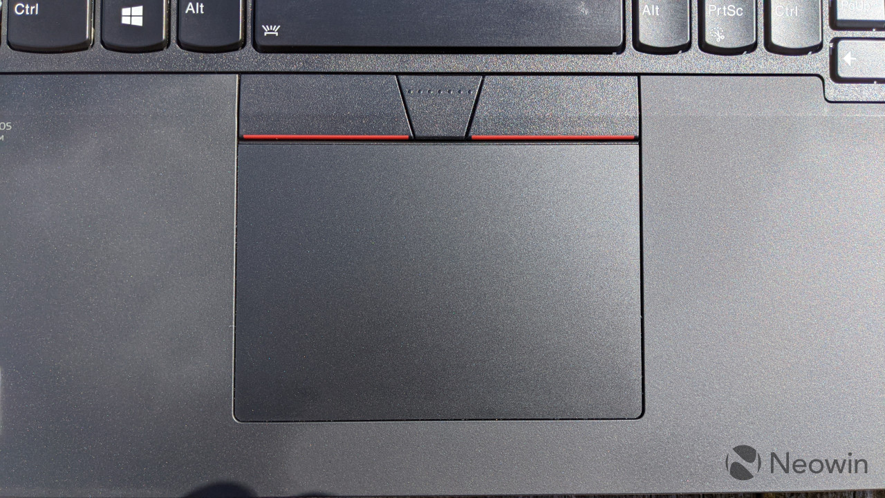 Top down view of ThinkPad P17 touchpad
