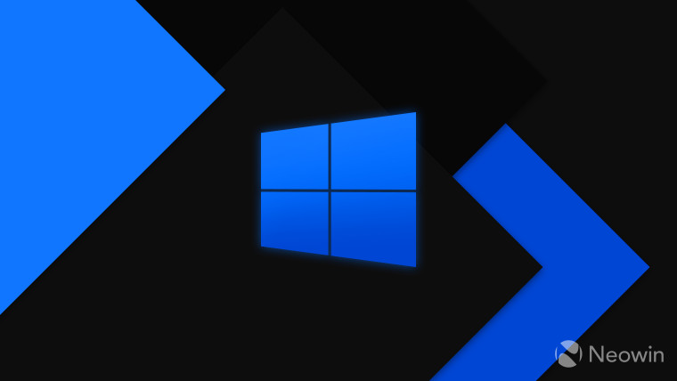 Windows 10 logo blue on dark background