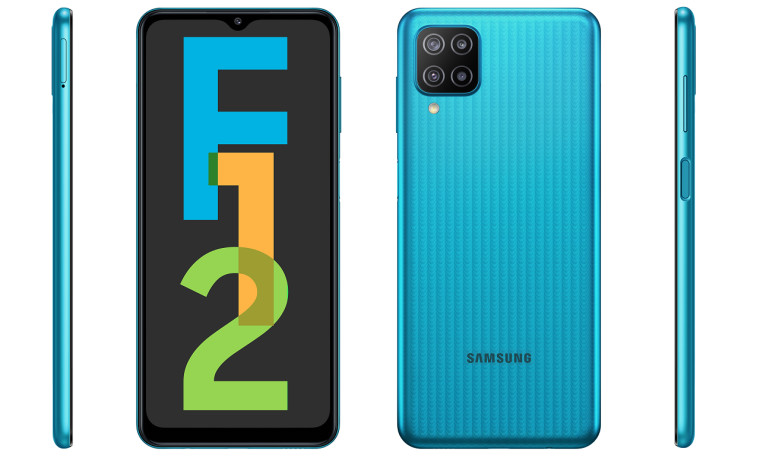Samsung Galaxy F12 in blue with its front back right side and left side