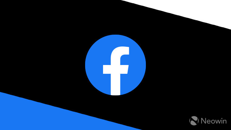 The Facebook logo on a blue white and black background