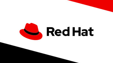 The Red Hat logo on a white black and red background