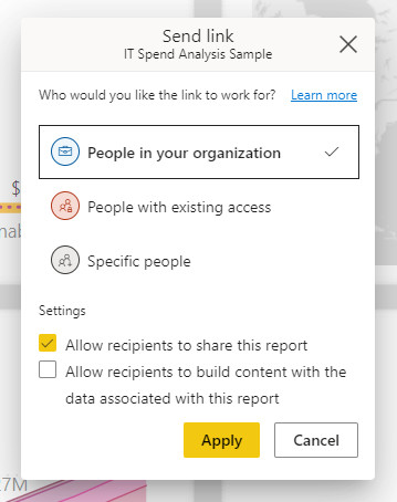 A sharing box for Power BI report sharing showing options of groups to share with