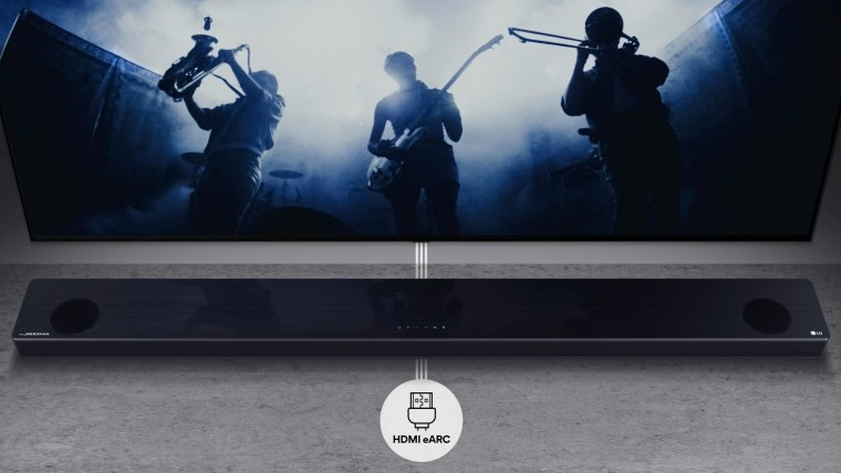 LG 2021 soundbar under a TV with an HDMI eARC indicator