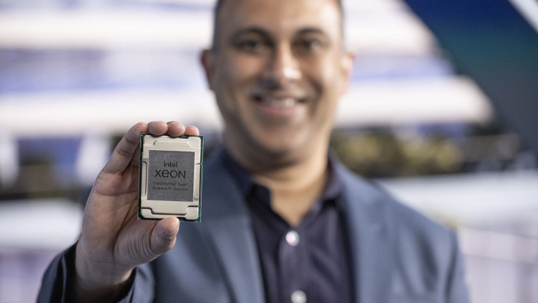 Man holding Intel Xeon Scalable Processor
