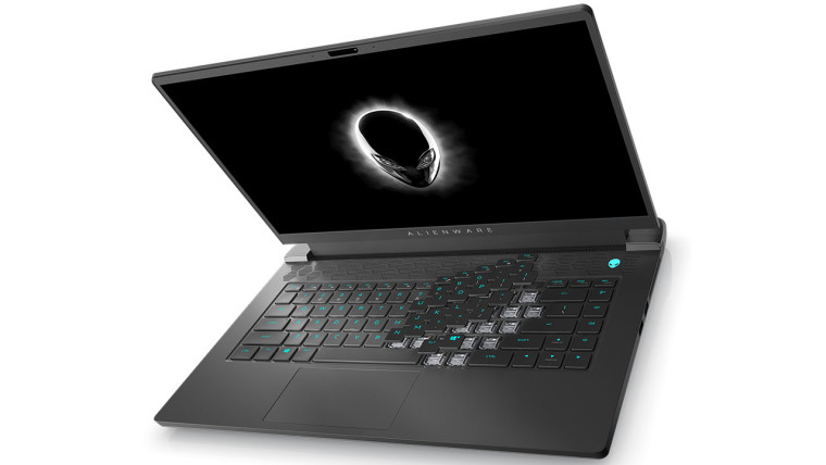 Alienware m15 open with white background