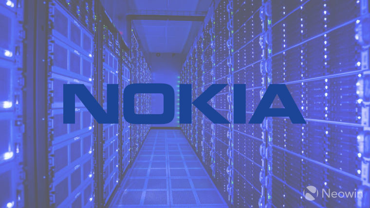 The Nokia logo with the AirScale data centre in the background