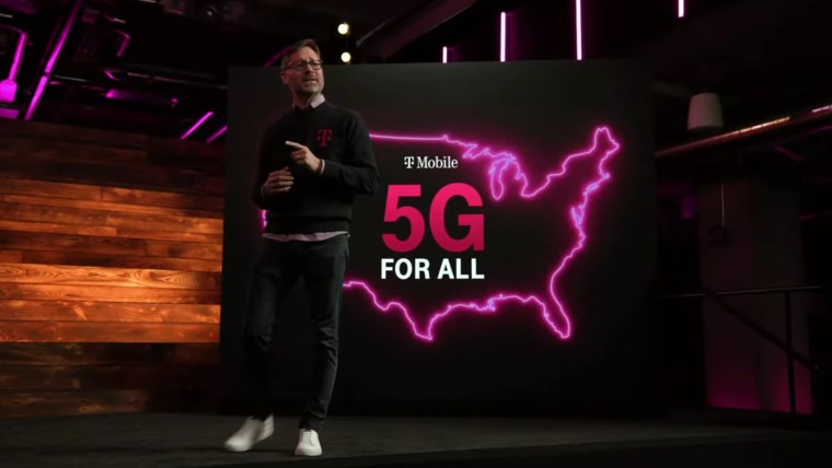 T-Mobile CEO Mike Sievert in front of text reading 5G for All