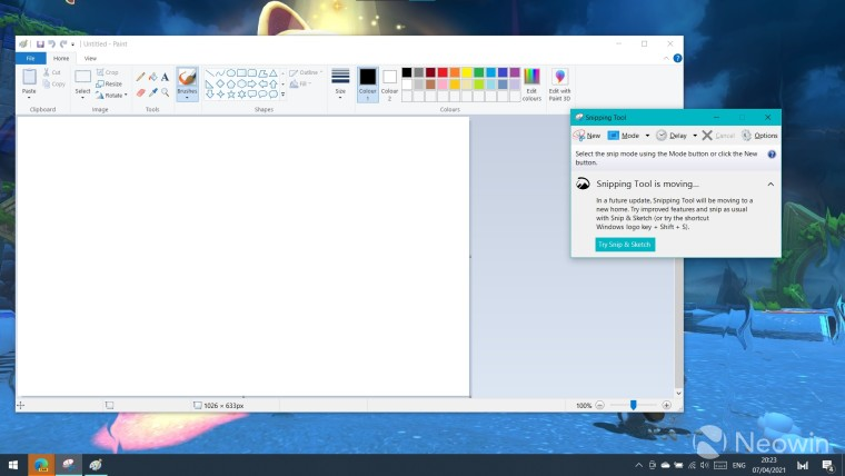 Snipping Tool and Paint open on a Windows 10 PC