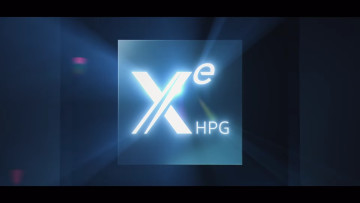 The Intel Xe HPG logo illuminated