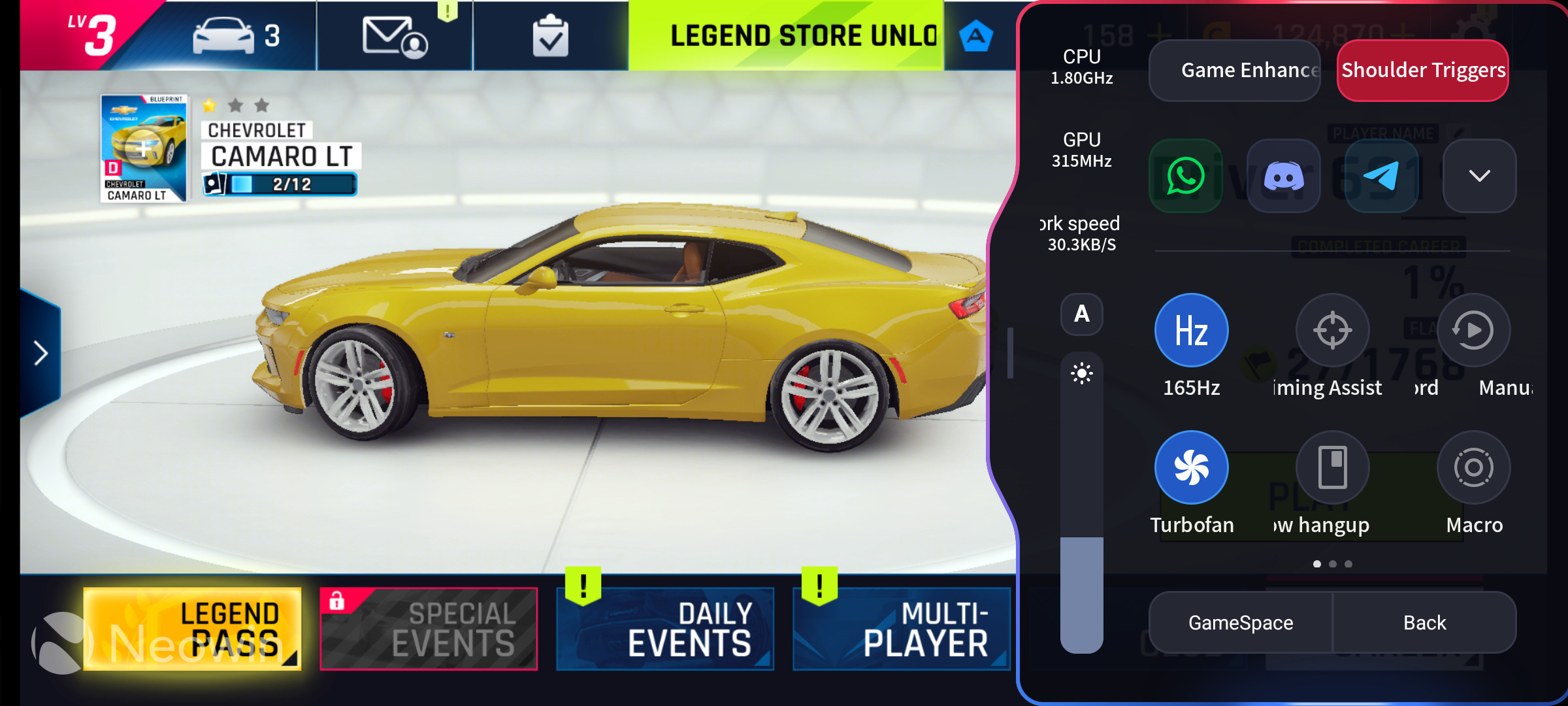 Game overlay displayed over Asphalt 9 on the RedMagic 6