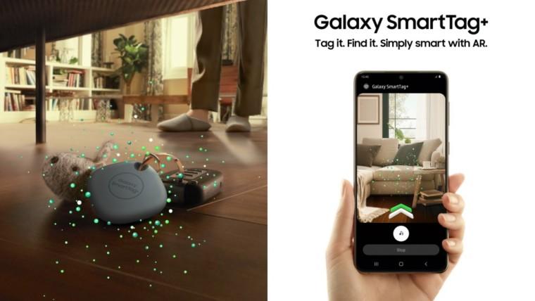 Samsung smartphone locating a Galaxy SmartTag Plus in AR