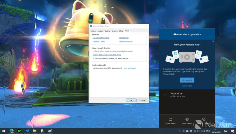 The OneDrive sync client open on a Windows 10 PC