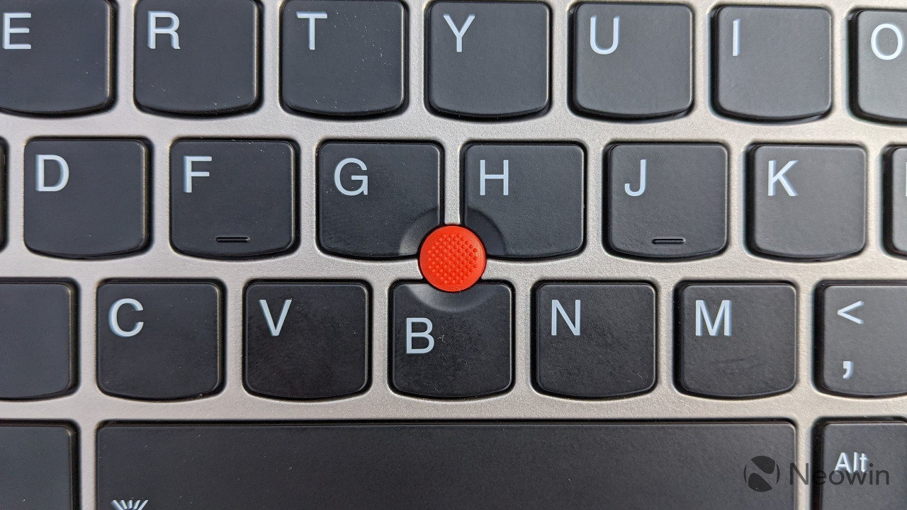 Close-up of the TrackPoint on the ThinkPad X1 Titanium Yoga
