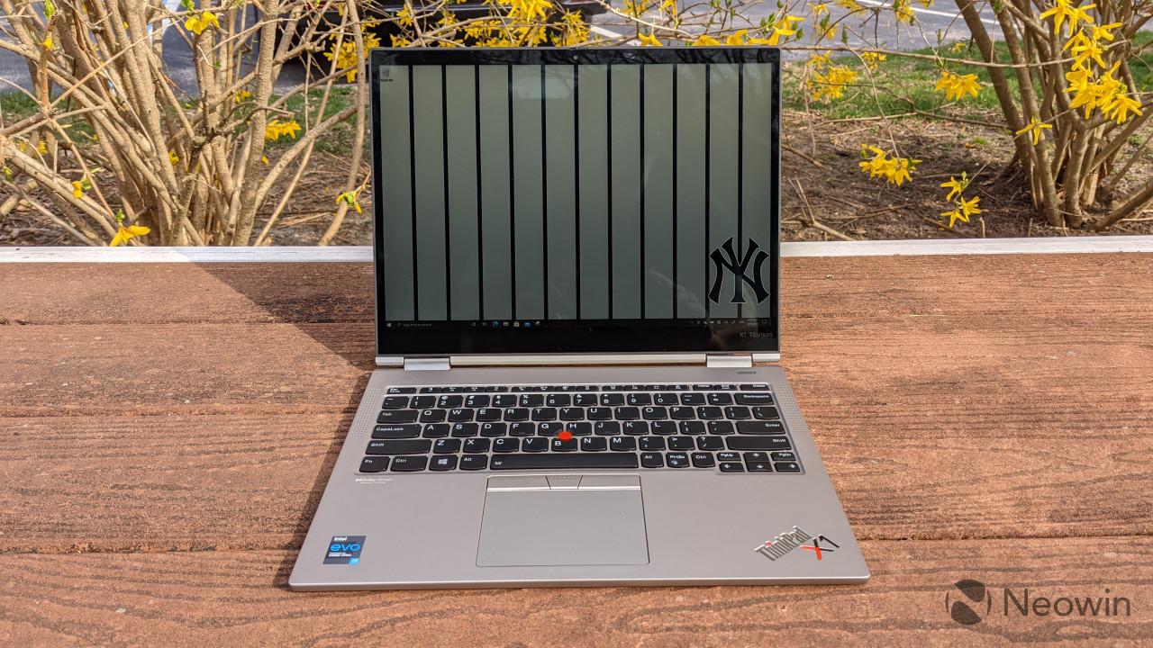 Clamshell view of ThinkPad X1 Titanium Yoga
