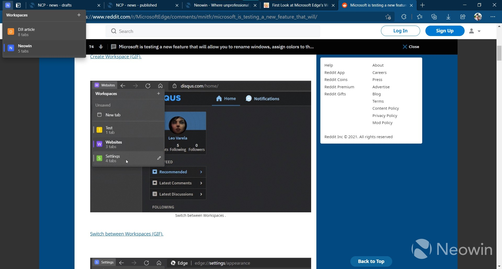 A workspace in Edge with five tabs saved