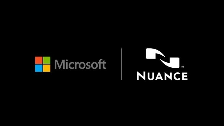 Microsoft and Nuance logos on a black background