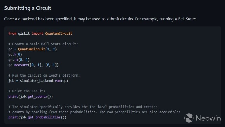 Code for creating a Bell state using Qiskit and IonQ&039s backend