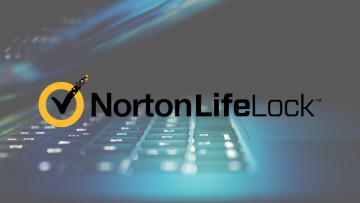The NortonLifeLock logo with a laptop in the background