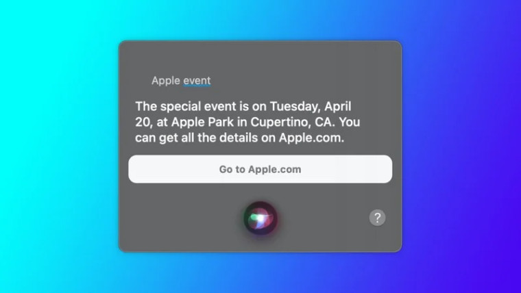 Screenshot of Apple&039s Siri revealing the company&039s event on April 20