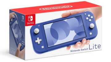 Box art for the blue model of the Nintendo Switch Lite