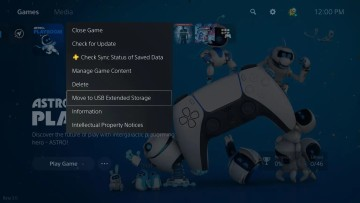 PlayStation 5 menu displaying the option to move games to USB Extended Storage