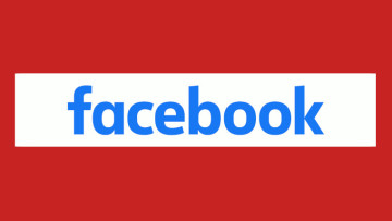 The Facebook logo with a stop sign background colour scheme