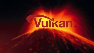 The Vulkan logo on top of an image of an erupting volcano